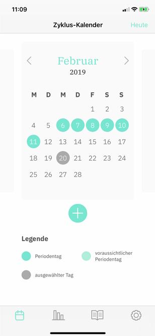 Screenshot von der Kalenderübersicht von periodo