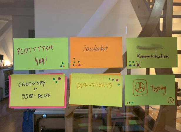 Sechs Klebezettel mit Punkten, um die Wichtigkeit der Themen zu kennzeichnen