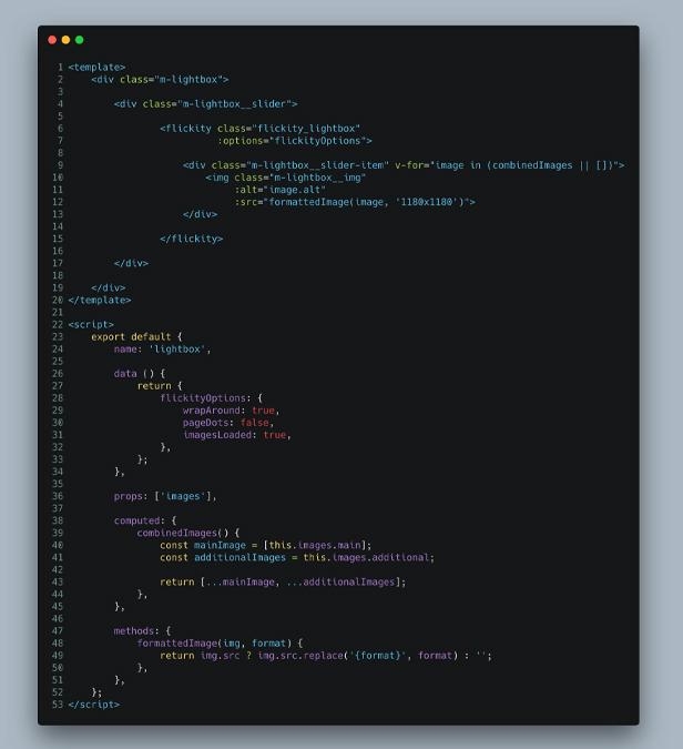 Screenshot eines Codeausschnitts von Vue.js