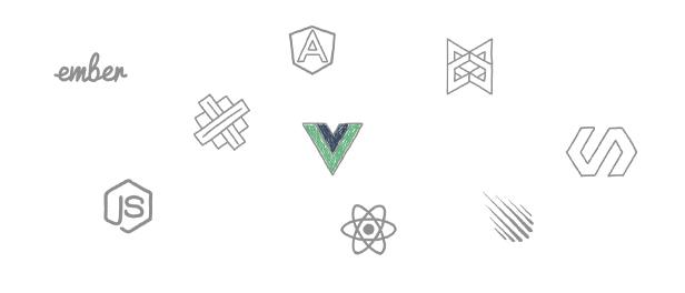 gezeichnete Logos verschiedener JavaScrip-Frameworks und -Bibiliotheken. Vue.js ist als einziges farbig