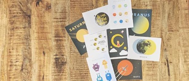 illustrierte Postkarten rund um das Thema Weltall