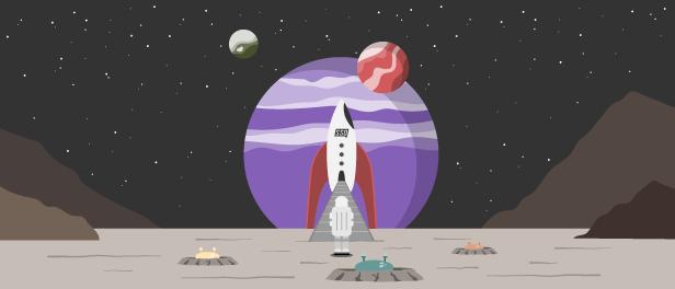 Illsutration einer Rakete mit Astronautem vor einem Planeten