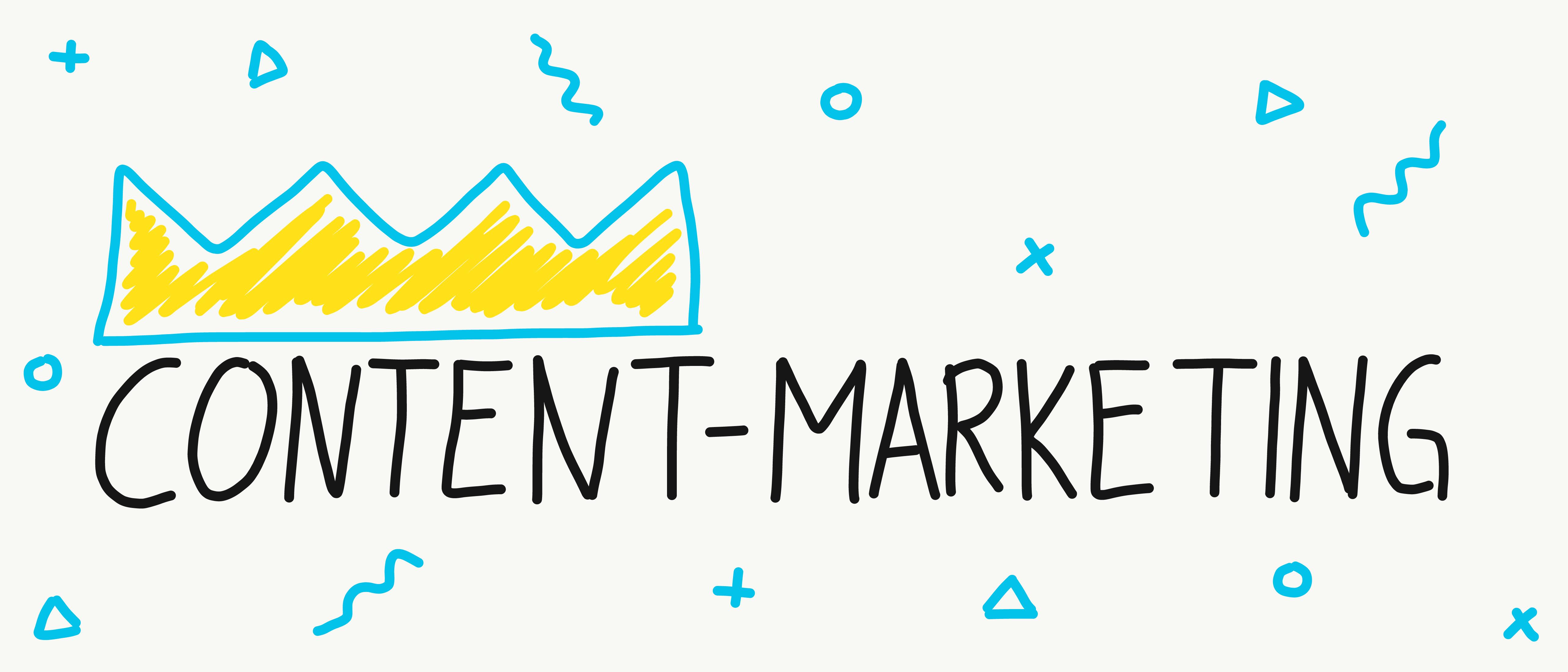 """Das Wort """"Content-Marketing"""" in digitaler Handschrift. Das Wort Content trägt eine Krone."""