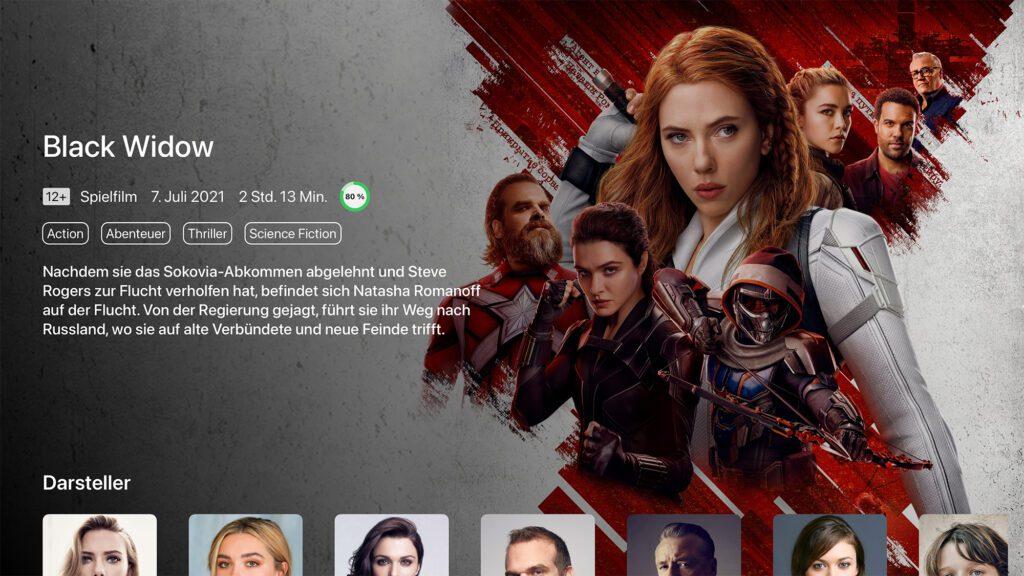 """Detailansicht des Films """"Black Widow"""" in WatchHelp"""